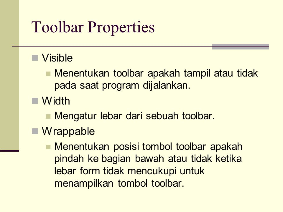 Toolbar Properties Visible Width Wrappable