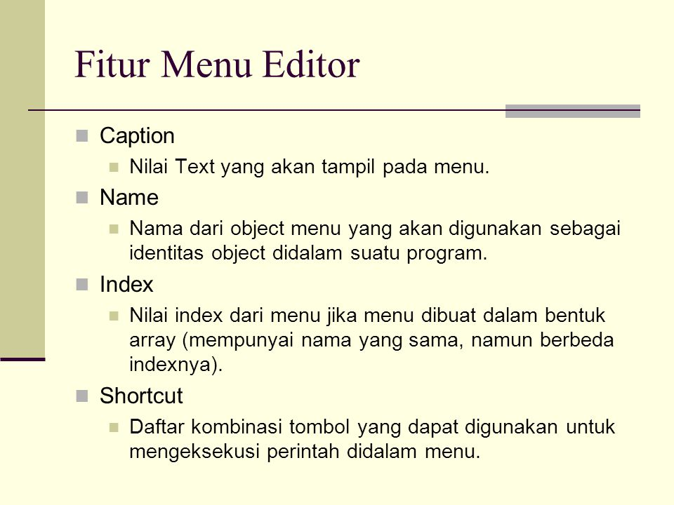 Fitur Menu Editor Caption Name Index Shortcut