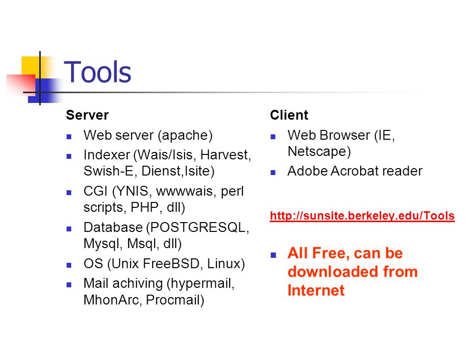 Tools All Free, can be downloaded from Internet Server