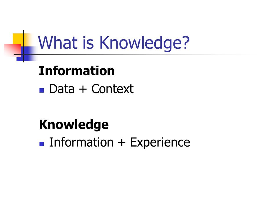 What is Knowledge Information Data + Context Knowledge