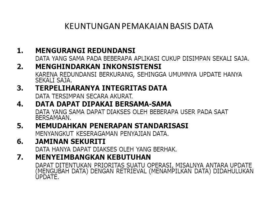 KEUNTUNGAN PEMAKAIAN BASIS DATA