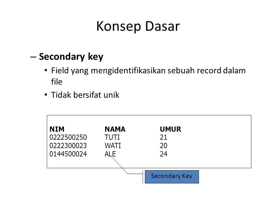 Konsep Dasar Secondary key