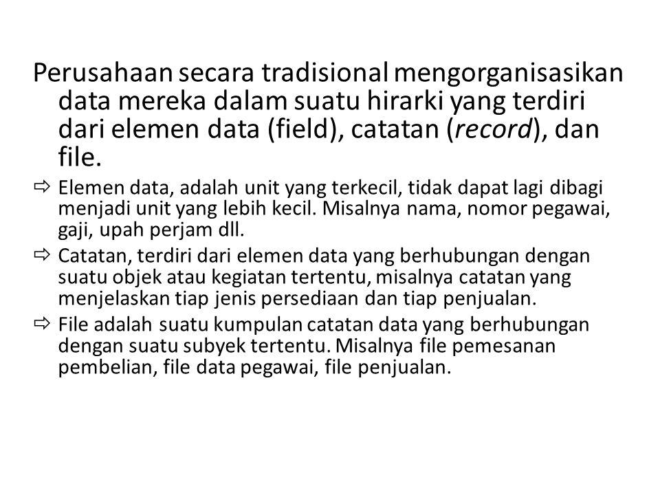 Perusahaan secara tradisional mengorganisasikan data mereka dalam suatu hirarki yang terdiri dari elemen data (field), catatan (record), dan file.