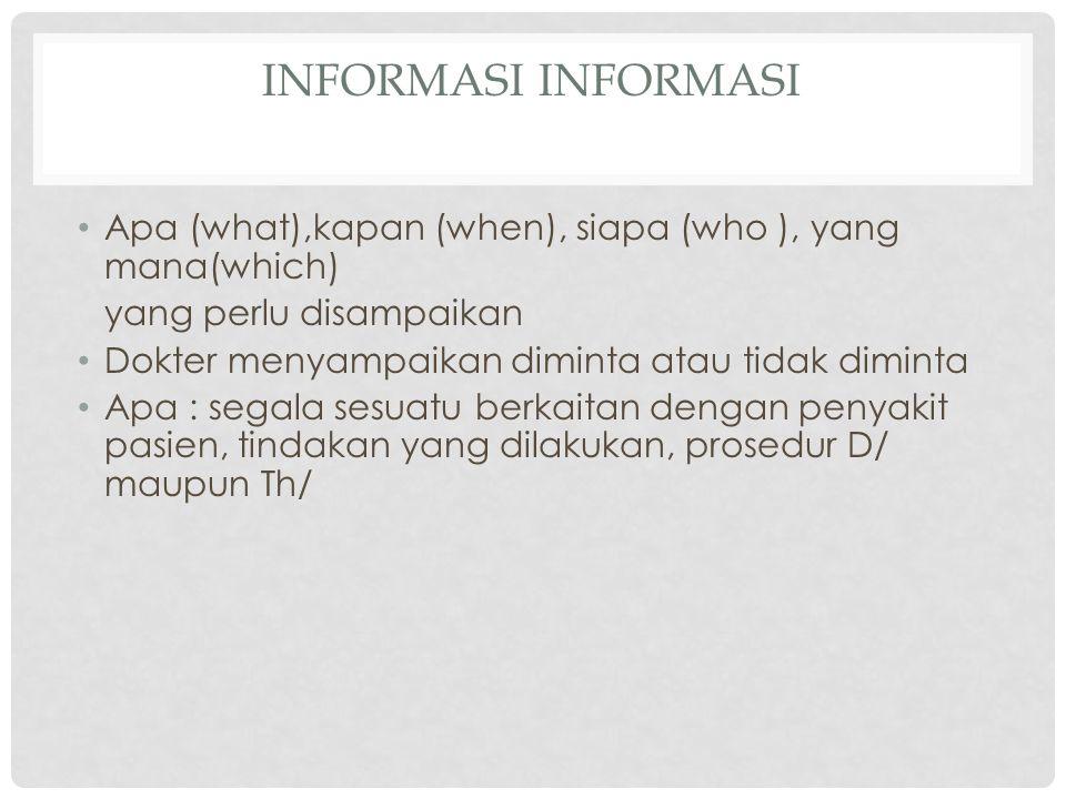 Informasi Informasi Apa (what),kapan (when), siapa (who ), yang mana(which) yang perlu disampaikan.