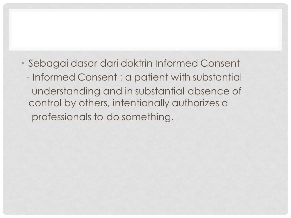 Sebagai dasar dari doktrin Informed Consent