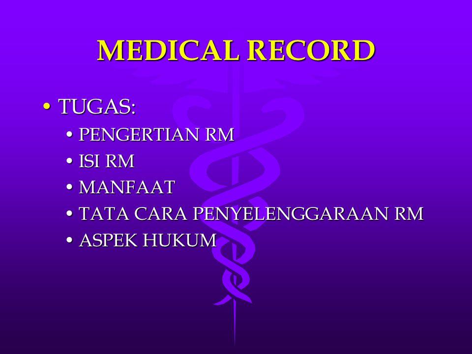 MEDICAL RECORD TUGAS: PENGERTIAN RM ISI RM MANFAAT