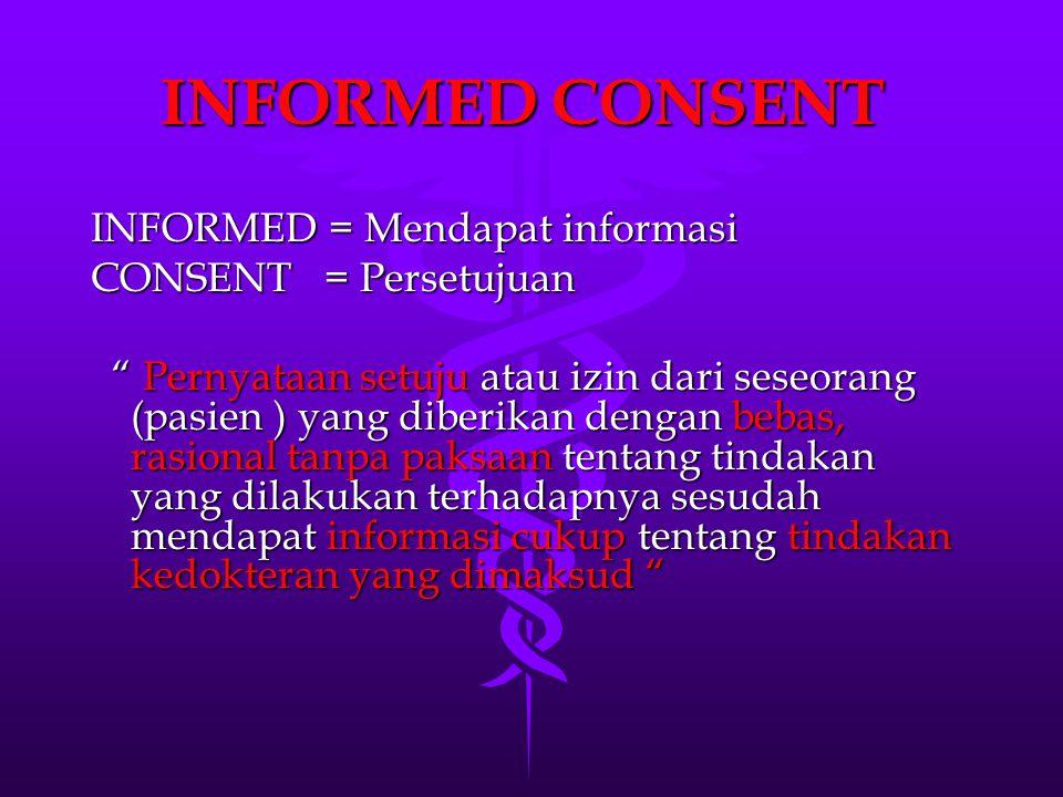 INFORMED CONSENT INFORMED = Mendapat informasi CONSENT = Persetujuan
