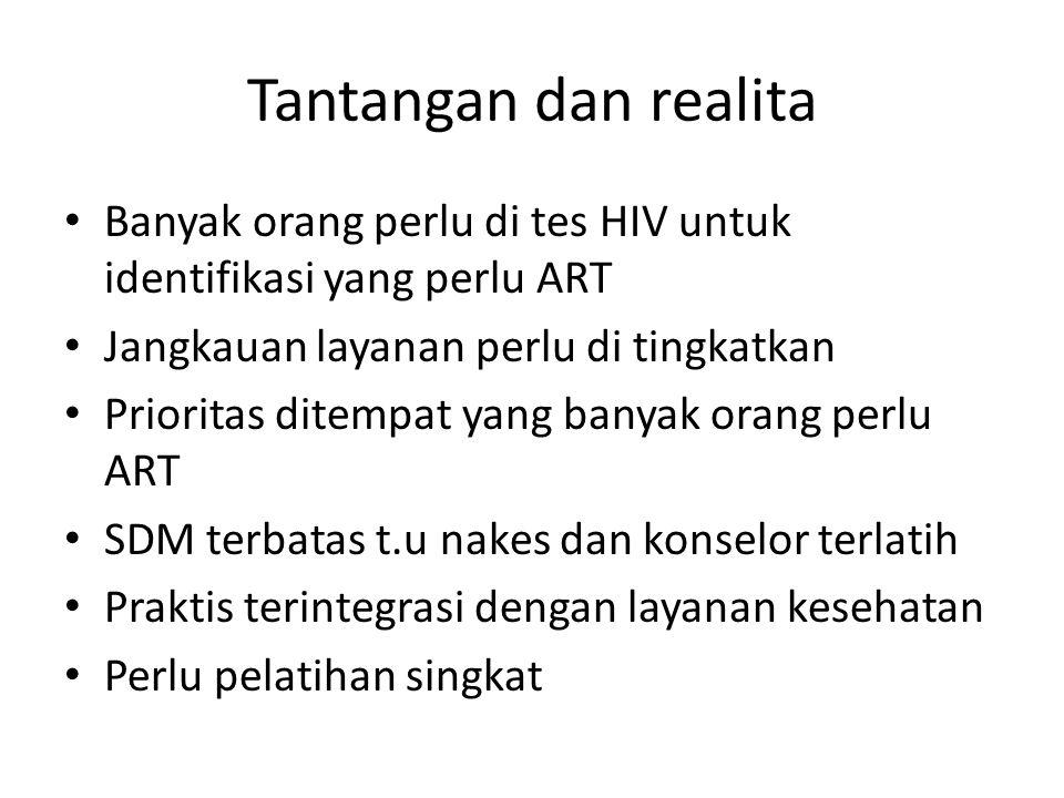 Tantangan dan realita Banyak orang perlu di tes HIV untuk identifikasi yang perlu ART. Jangkauan layanan perlu di tingkatkan.