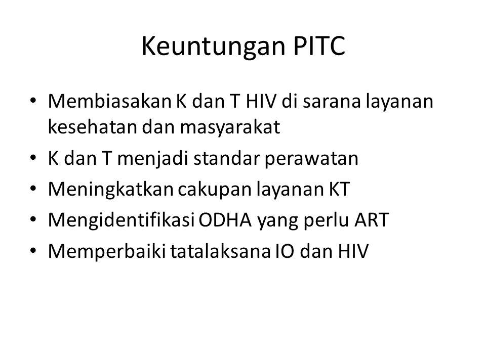 Keuntungan PITC Membiasakan K dan T HIV di sarana layanan kesehatan dan masyarakat. K dan T menjadi standar perawatan.