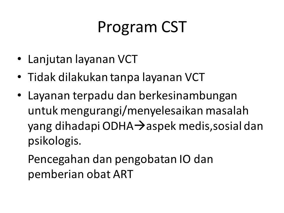 Program CST Lanjutan layanan VCT Tidak dilakukan tanpa layanan VCT