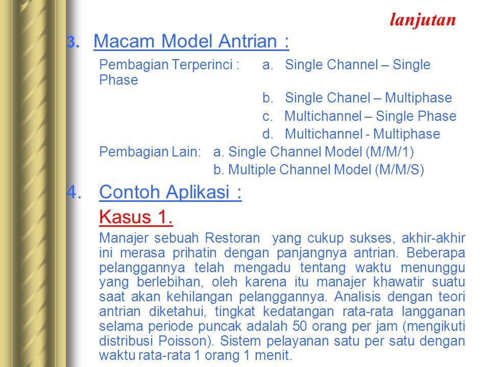 lanjutan Contoh Aplikasi : 3. Macam Model Antrian :