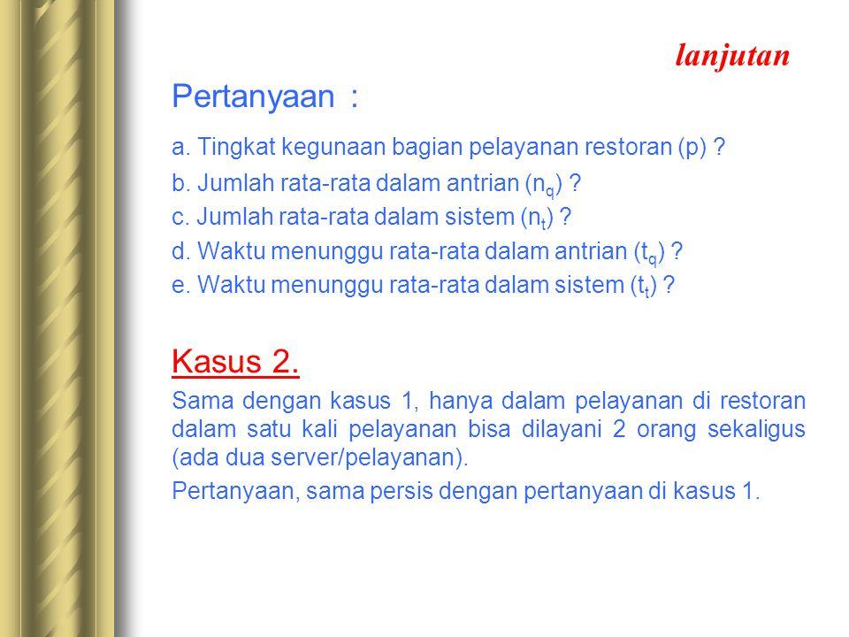 a. Tingkat kegunaan bagian pelayanan restoran (p)