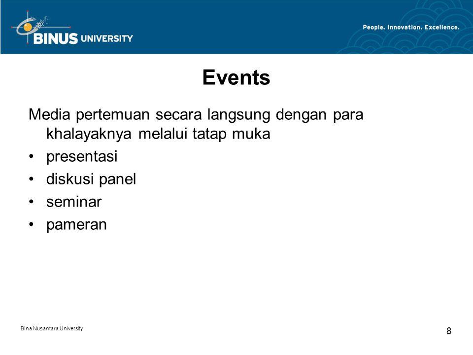 Events Media pertemuan secara langsung dengan para khalayaknya melalui tatap muka. presentasi. diskusi panel.