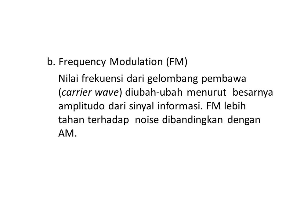 b. Frequency Modulation (FM)