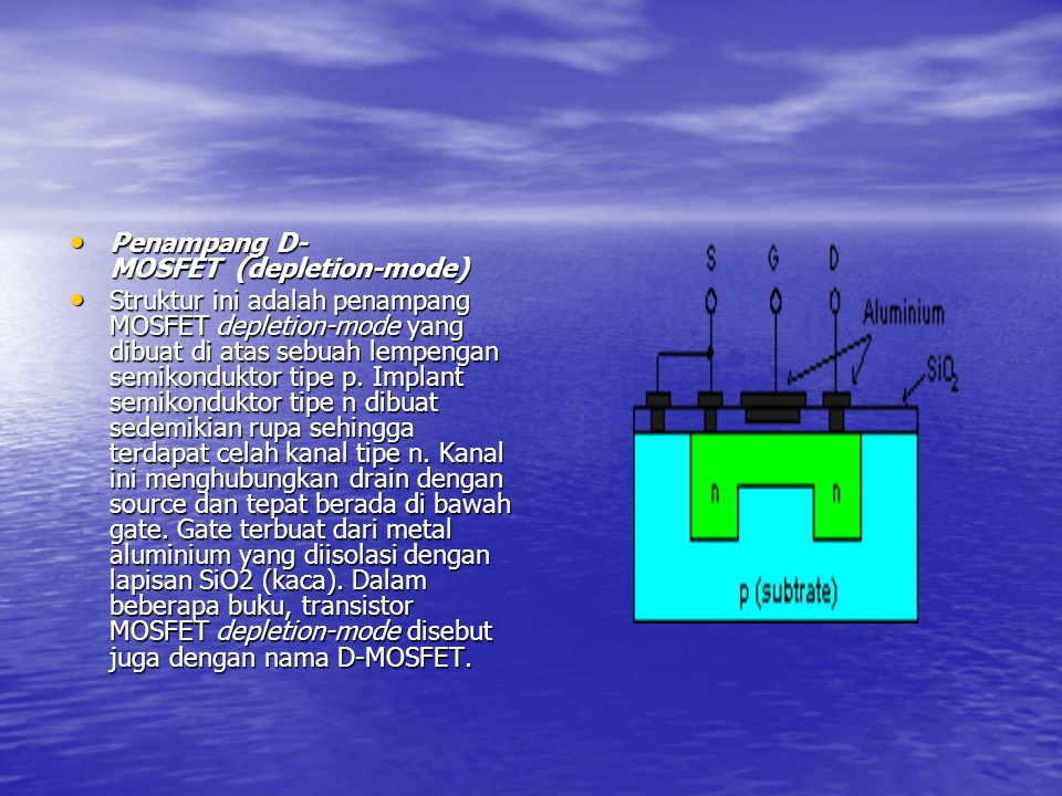 Penampang D-MOSFET (depletion-mode)