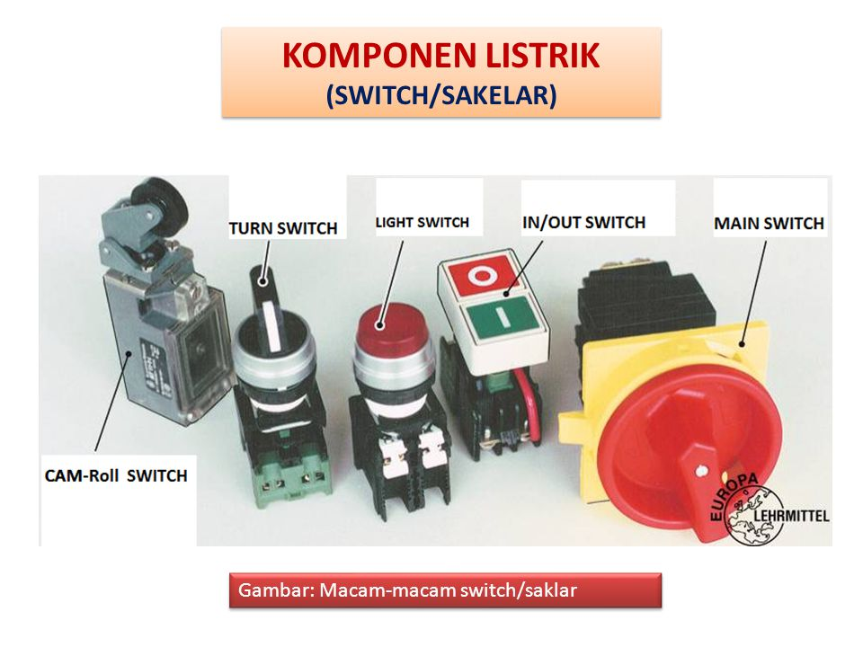 KOMPONEN LISTRIK (SWITCH/SAKELAR) Gambar: Macam-macam switch/saklar