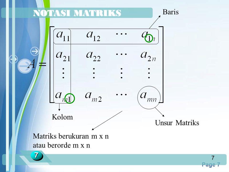 NOTASI MATRIKS Baris Kolom Unsur Matriks