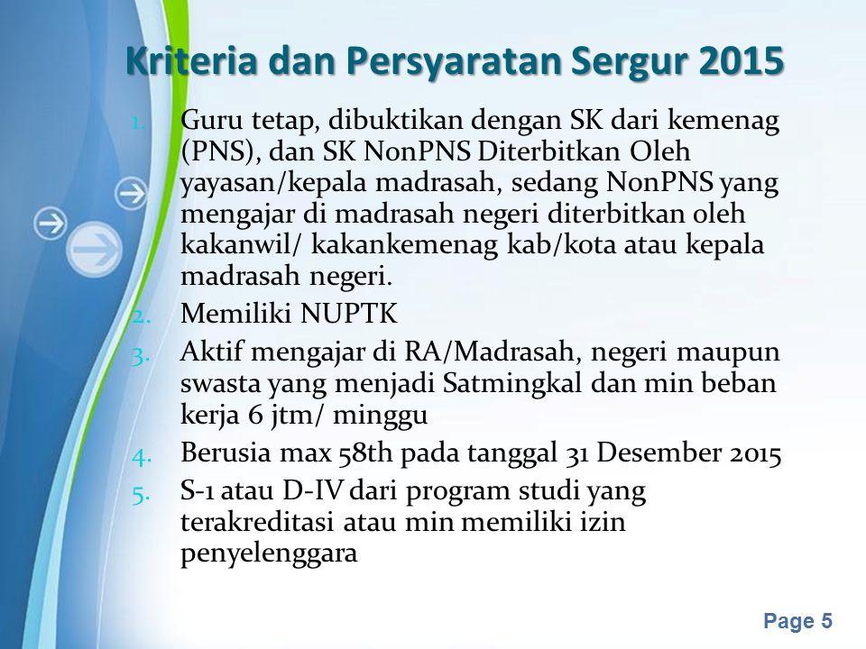 Kriteria dan Persyaratan Sergur 2015