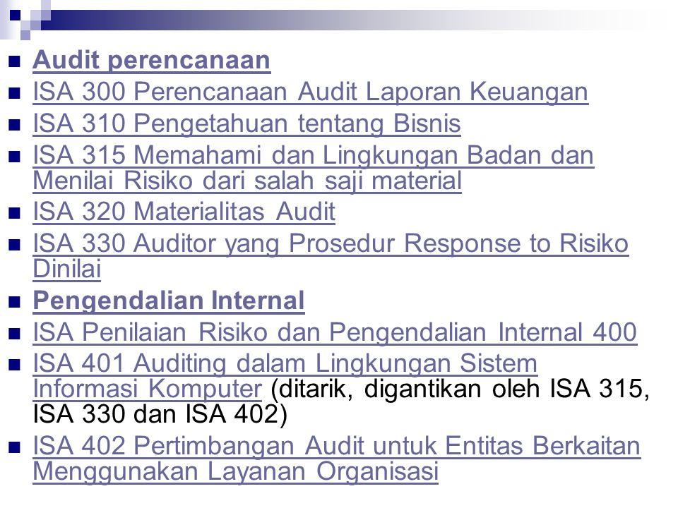 Audit perencanaan ISA 300 Perencanaan Audit Laporan Keuangan. ISA 310 Pengetahuan tentang Bisnis.