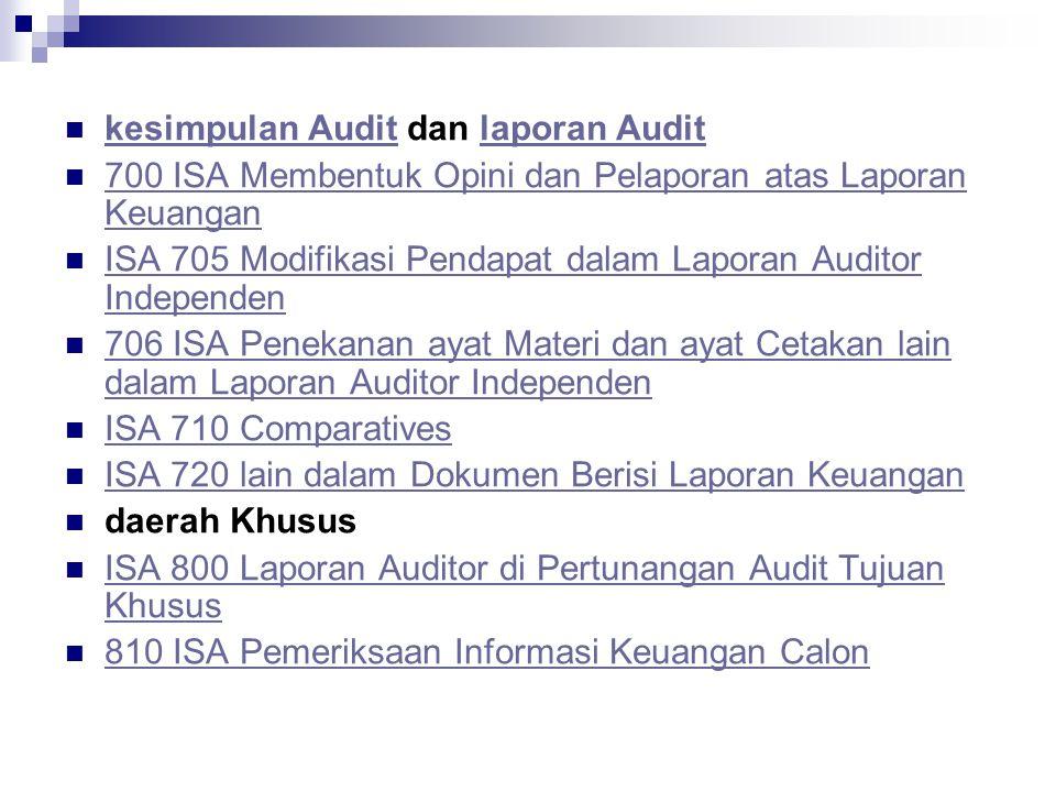 kesimpulan Audit dan laporan Audit