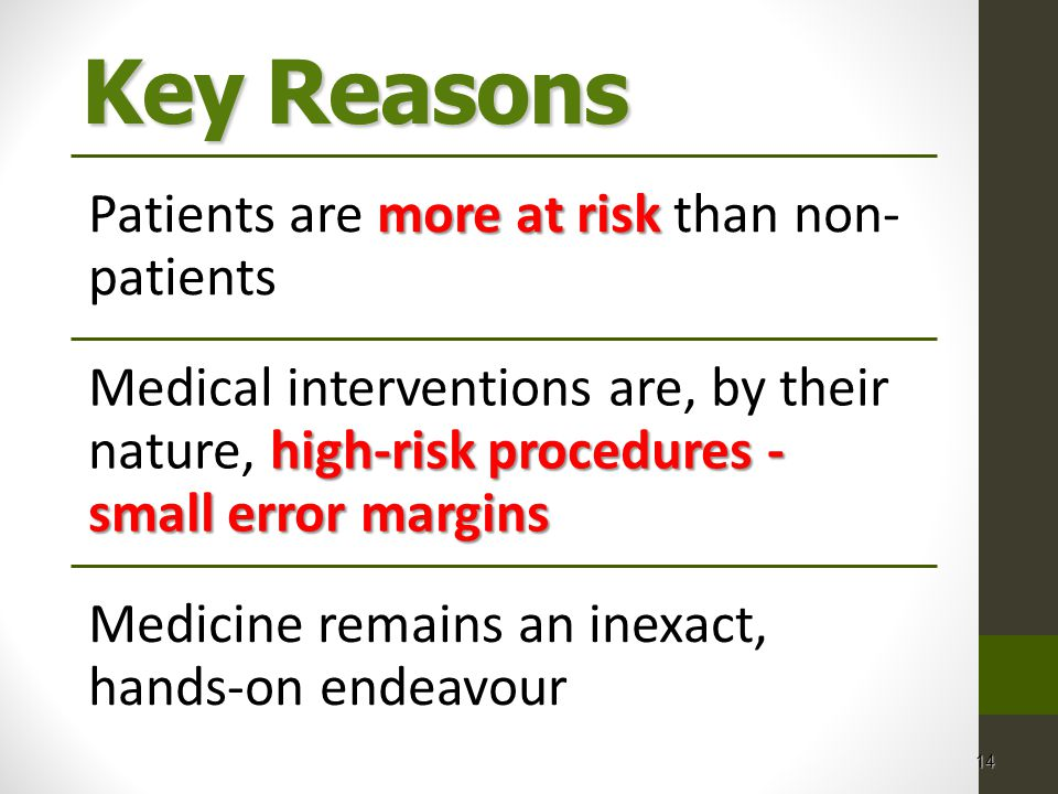 Key Reasons Patients are more at risk than non-patients