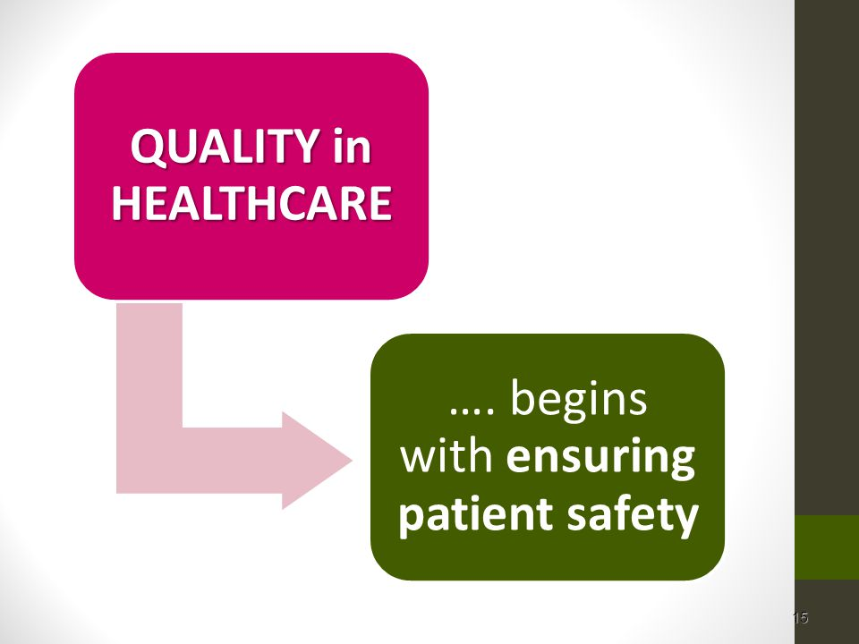 …. begins with ensuring patient safety