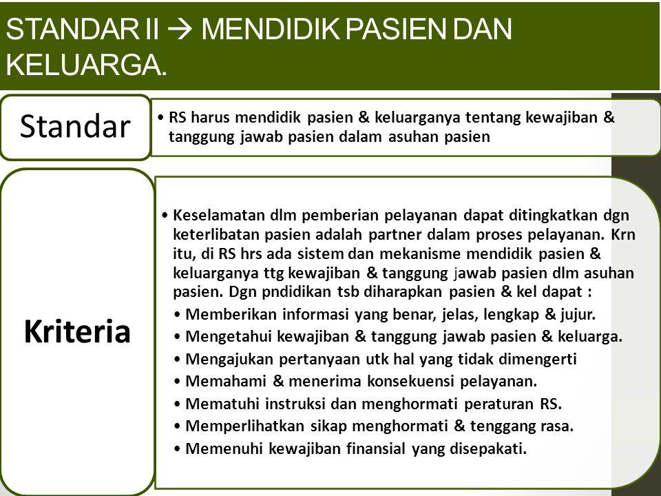 Standar II  Mendidik pasien dan keluarga.