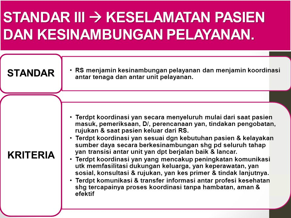 Standar III  Keselamatan pasien dan kesinambungan pelayanan.