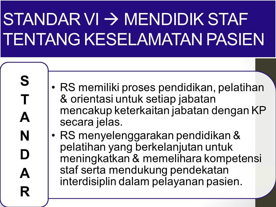 Standar VI  Mendidik staf tentang keselamatan pasien