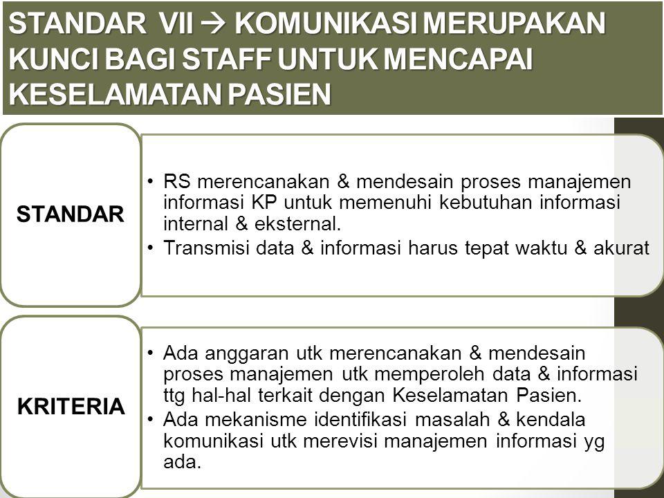 Standar VII  Komunikasi merupakan kunci bagi staff untuk mencapai keselamatan pasien