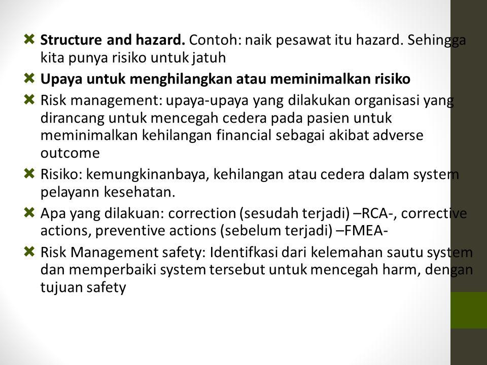 Structure and hazard. Contoh: naik pesawat itu hazard