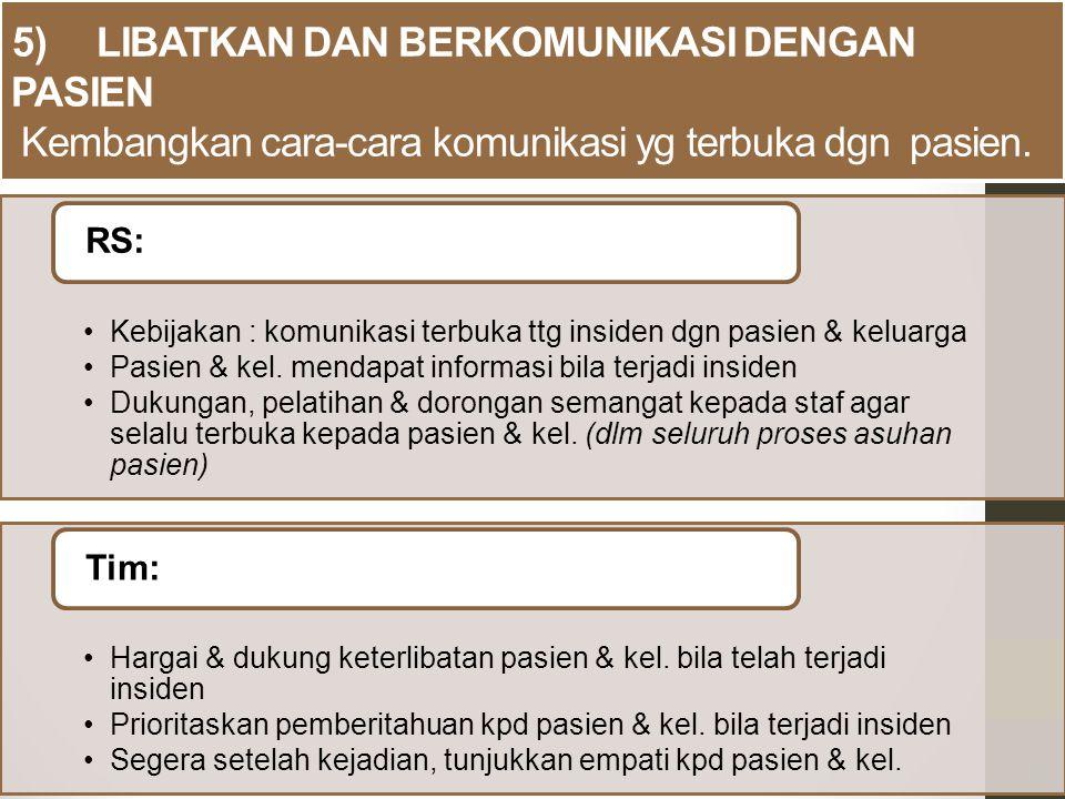 5) LIBATKAN DAN BERKOMUNIKASI DENGAN PASIEN Kembangkan cara-cara komunikasi yg terbuka dgn pasien.
