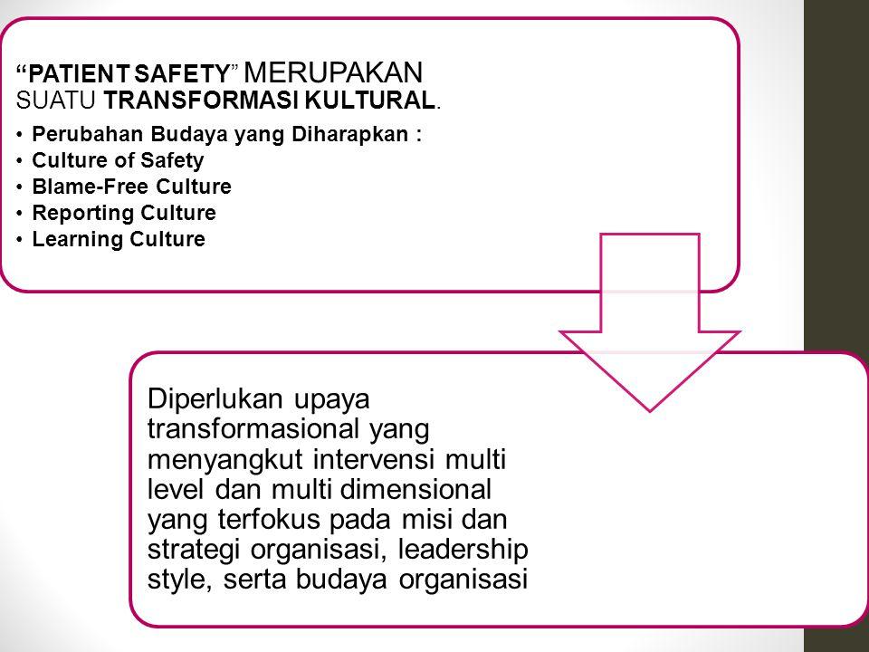 PATIENT SAFETY MERUPAKAN SUATU TRANSFORMASI KULTURAL.