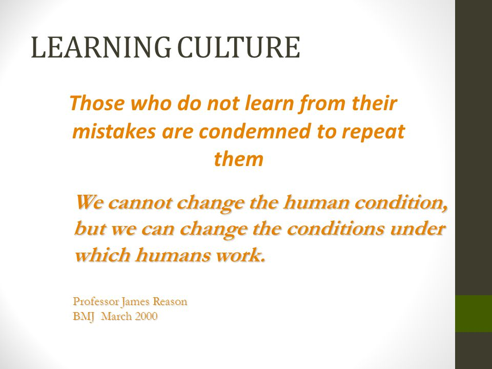 LEARNING CULTURE Those who do not learn from their mistakes are condemned to repeat them.
