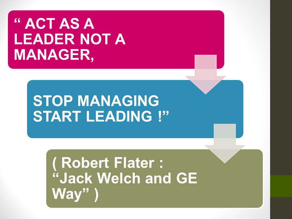 Act as a Leader not a Manager,