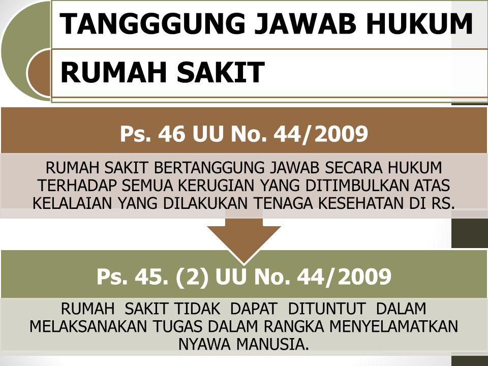 TANGGGUNG JAWAB HUKUM RUMAH SAKIT Ps. 45. (2) UU No. 44/2009