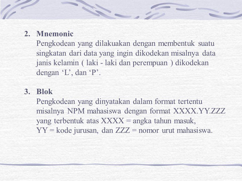 Mnemonic Pengkodean yang dilakuakan dengan membentuk suatu. singkatan dari data yang ingin dikodekan misalnya data.