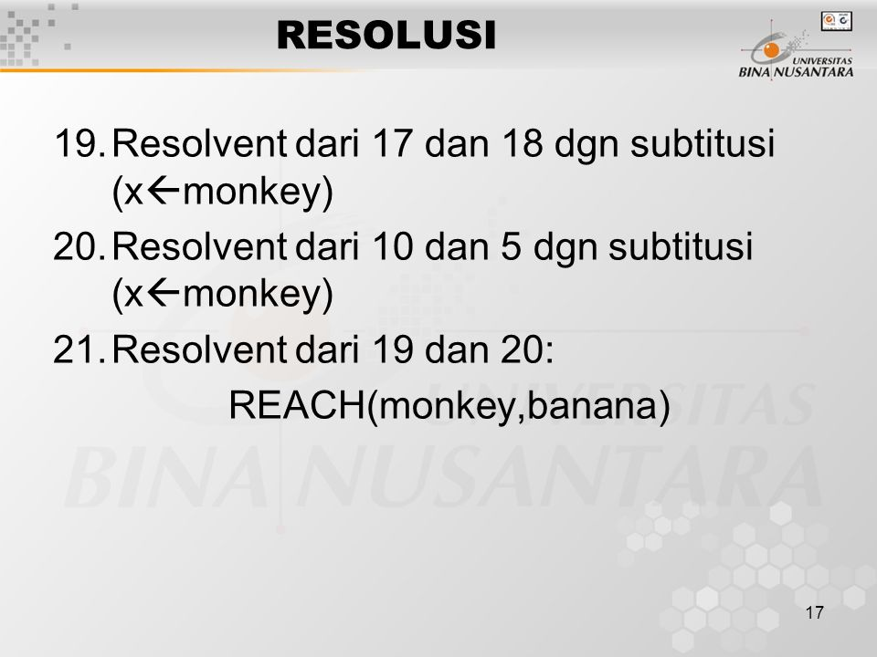 RESOLUSI Resolvent dari 17 dan 18 dgn subtitusi (xmonkey) Resolvent dari 10 dan 5 dgn subtitusi (xmonkey)