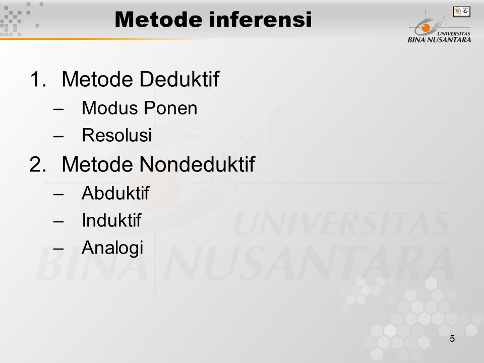 Metode inferensi Metode Deduktif Metode Nondeduktif Modus Ponen
