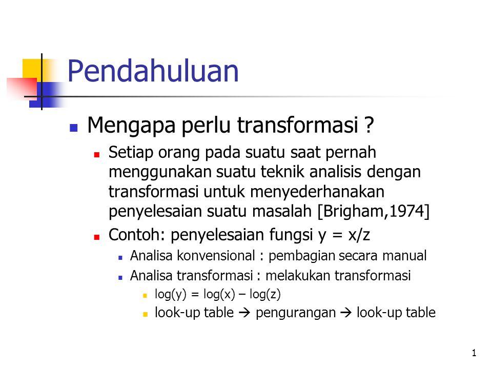 Pendahuluan Mengapa perlu transformasi