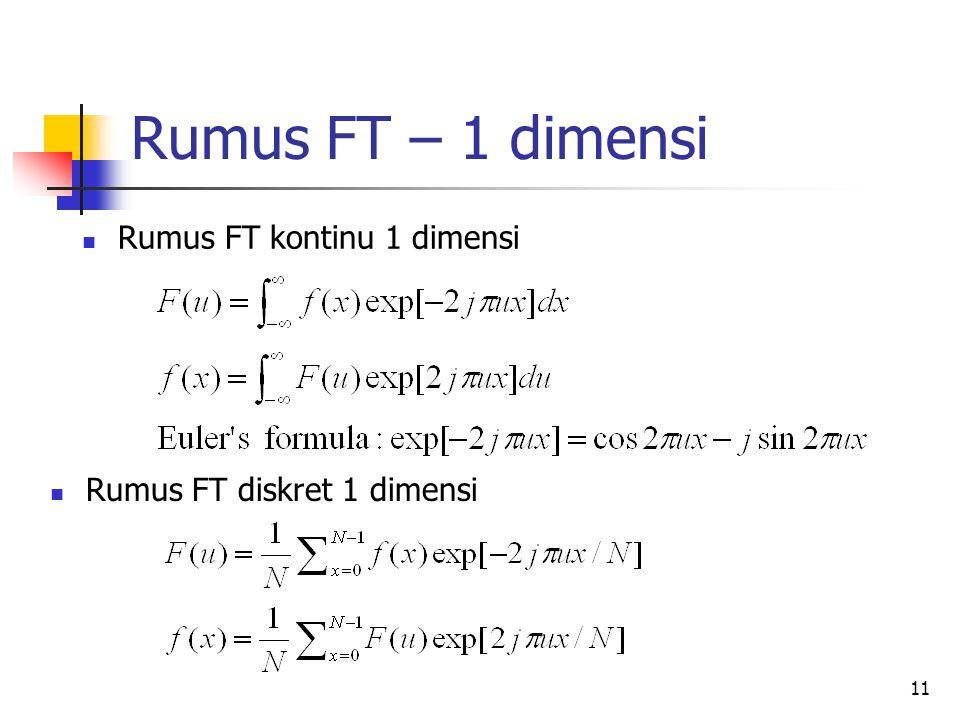 Rumus FT – 1 dimensi Rumus FT kontinu 1 dimensi