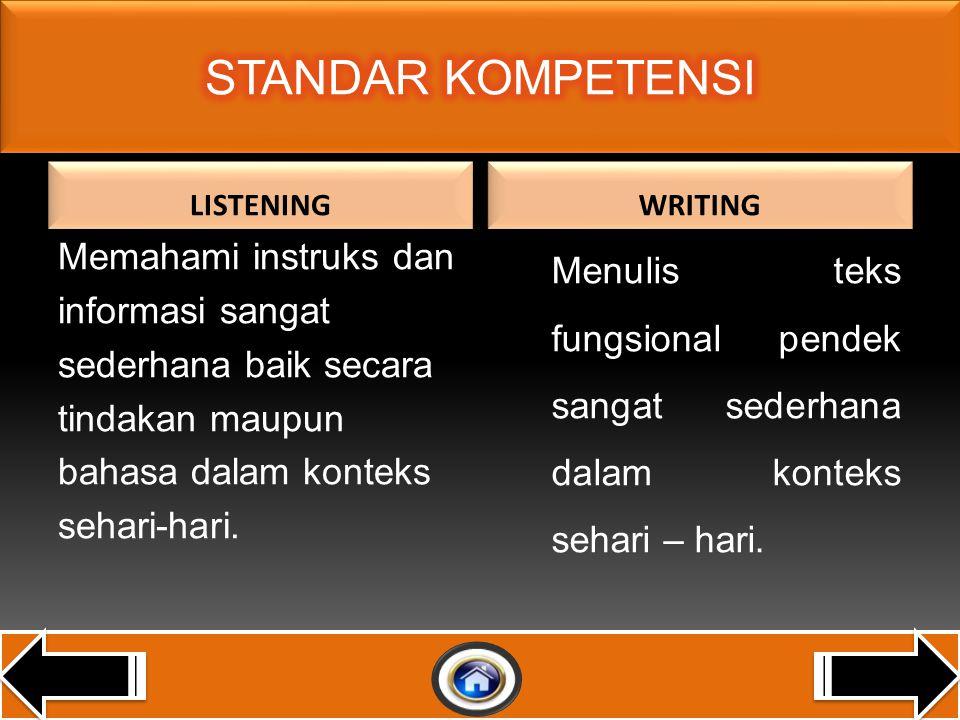 STANDAR KOMPETENSI LISTENING. WRITING.