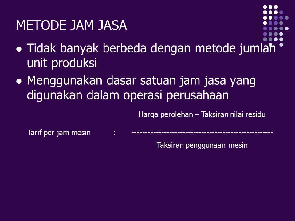 METODE JAM JASA Tidak banyak berbeda dengan metode jumlah unit produksi. Menggunakan dasar satuan jam jasa yang digunakan dalam operasi perusahaan.