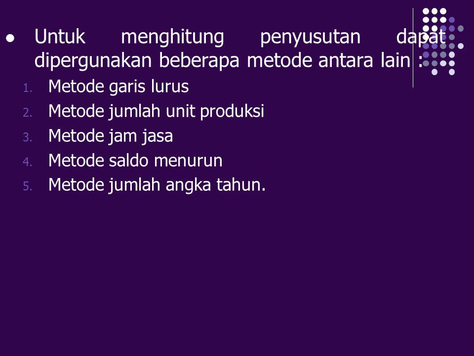 Untuk menghitung penyusutan dapat dipergunakan beberapa metode antara lain :