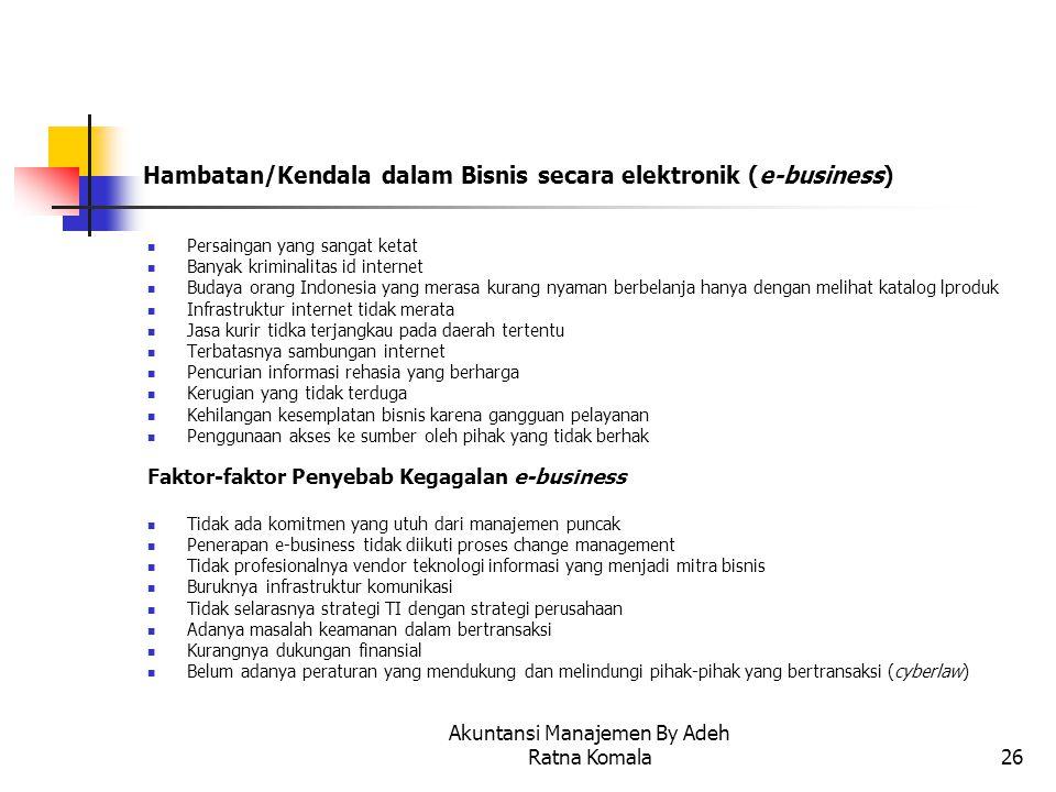 Hambatan/Kendala dalam Bisnis secara elektronik (e-business)