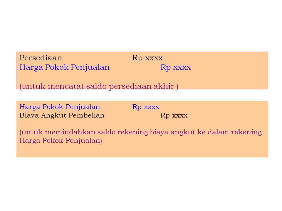 Harga Pokok Penjualan Rp xxxx (untuk mencatat saldo persediaan akhir )
