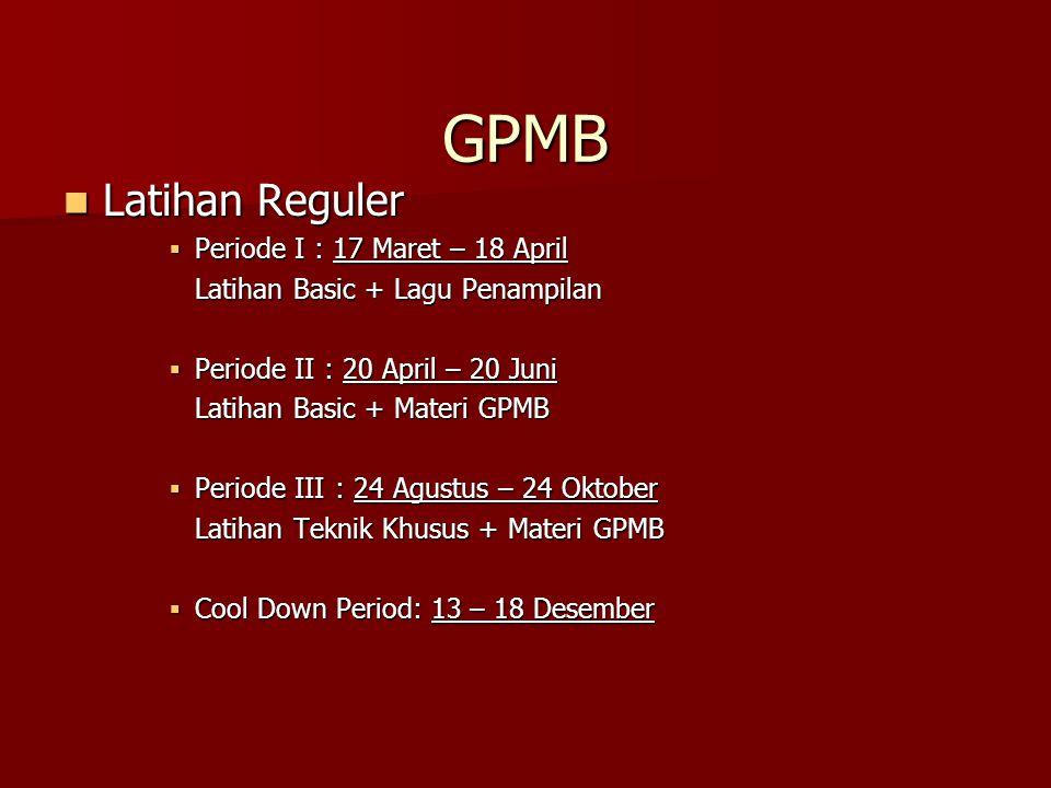 GPMB Latihan Reguler Periode I : 17 Maret – 18 April