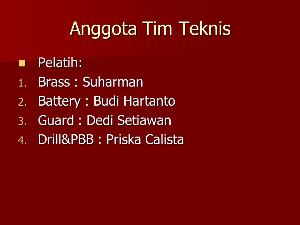 Anggota Tim Teknis Pelatih: Brass : Suharman Battery : Budi Hartanto