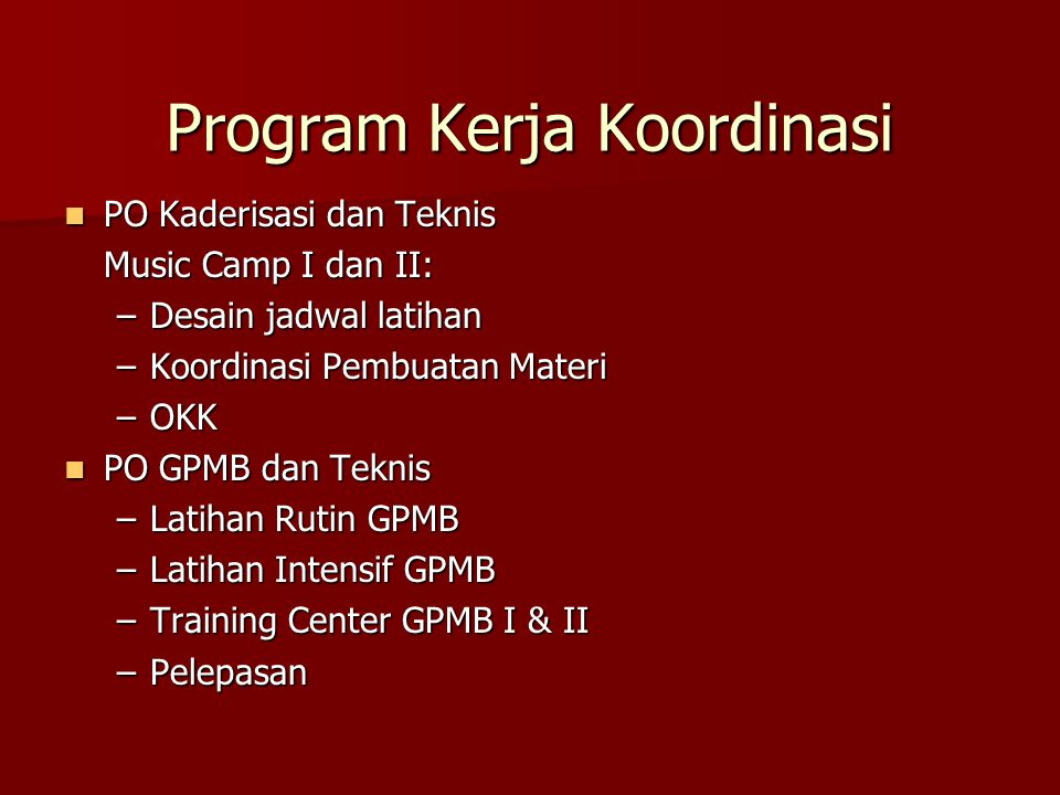 Program Kerja Koordinasi
