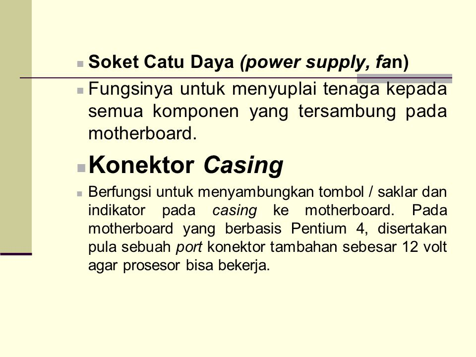 Konektor Casing Soket Catu Daya (power supply, fan)